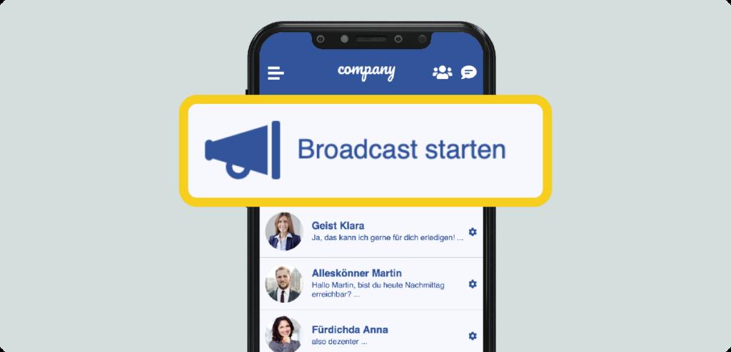 LOLYO Mitarbeiter-App neue Broadcast Funktion Bild